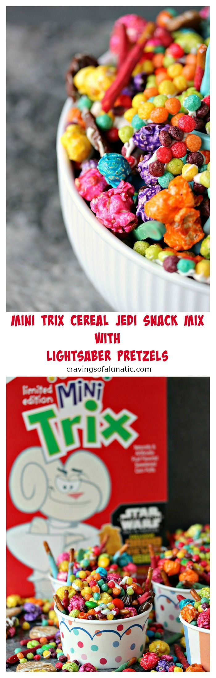 Mini Trix Cereal Jedi Snack Mix with Lightsaber Pretzels by cravingsofalunatic.com- This Jedi Snack Mix uses Mini Trix Cereal, Pretzels made into Lightsabers, coloured popcorn, tiny wafer cookies and M&M Candies. It's the perfect snack for the premiere of Star Wars: The Force Awakens! May the force be with you! (@CravingsLunatic) #sponsored