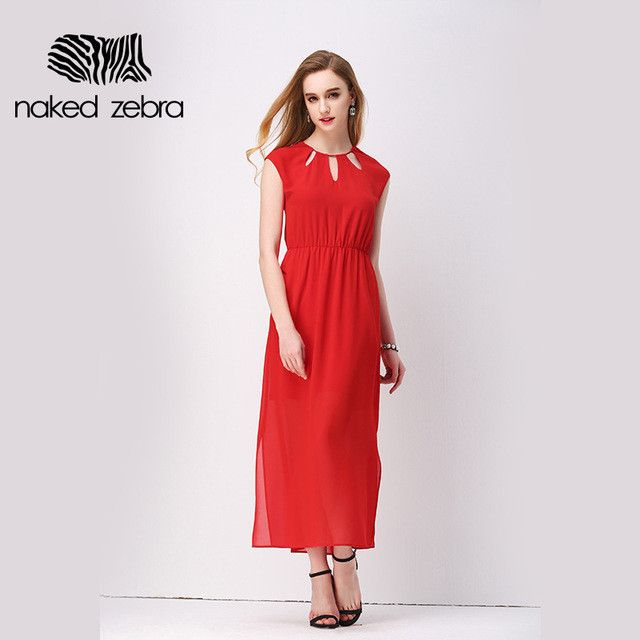 New Arrival Ladies Long Dress Hollow Design O-Neck High Waist Snkle Length Dress Solid Color Super Fashion Clothing