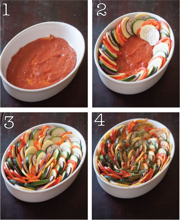 rainbow ratatouille Manifest Vegan. R. G. Says: tasted wonderful, smelled like a delicious veggie pizza. I served them over mashed potatoes. The whole family liked it and was filled. 3 1/2 out of 5 stars. I didn't have time to stack the veggies, so I just threw them in the pot.