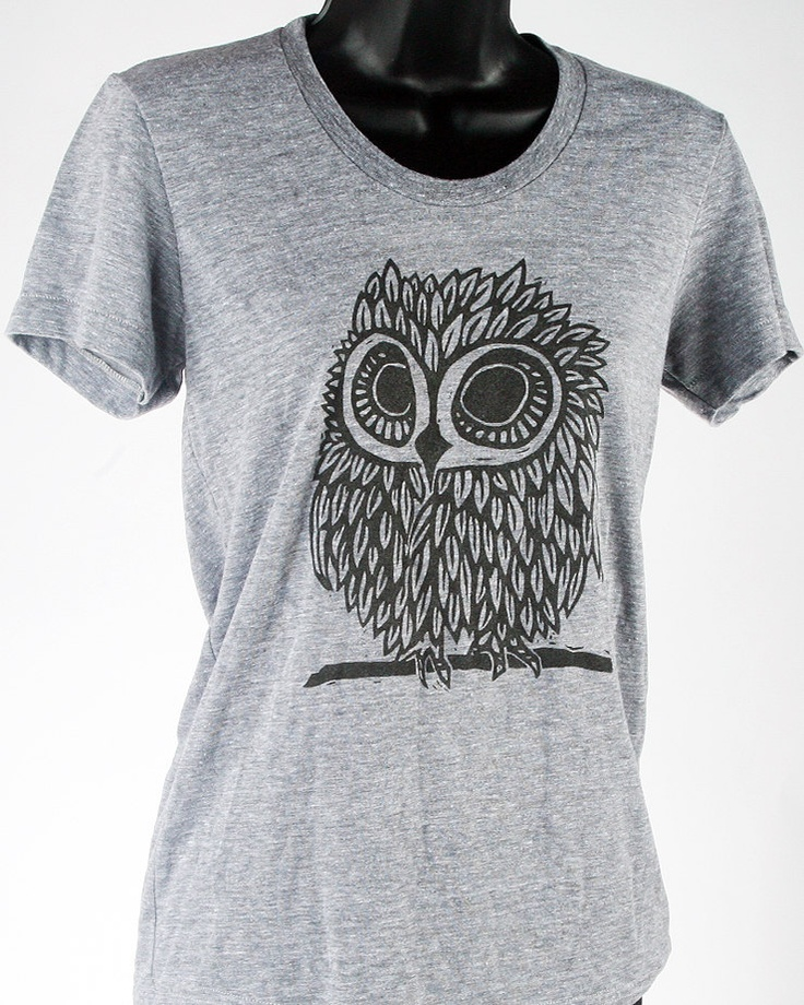 Owl on Heather Grey Tri Blend Women's American Apparel T Shirt. $25.00, via Etsy.  \\\ Killing myself look at owl tee's on Etsy haha