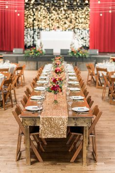 gold sequin wedding decor - photo by A.J. Dunlap Photography http://ruffledblog.com/brightly-colorful-sequined-wedding