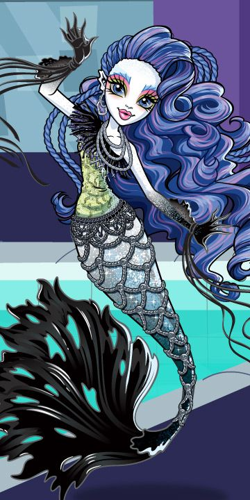 Sirena vonboo . Daughter of a ghost [ father ] and a mermaid [ mother ] . Age 17 .