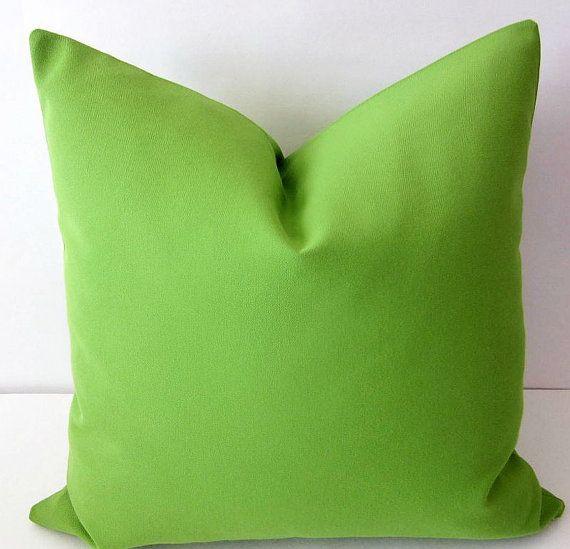 Sunbrella Pillow Sunbrella Macaw Lime Green by DesignerPillows4U