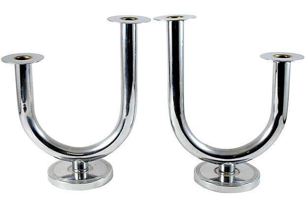 Walter Von Nessen Candlesticks, Pair on OneKingsLane.com: Chase Art, Late 1800 S Early, Nessen Candlesticks, Chase Chrome, 1800 S Early 20Th Century, Art Deco, Chrome Copper