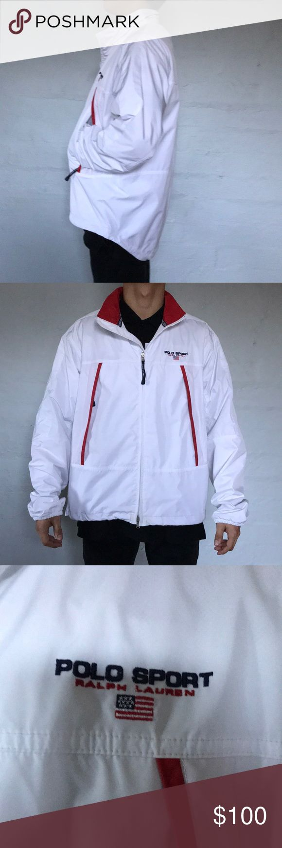 Vintage Polo Sport Jacket What a find! Vintage Polo Sport Jacket with spell out on breast. Two large zipper pockets on front with Polo Sport on tab. Clean white with hits of red and blue Polo by Ralph Lauren Jackets & Coats Windbreakers