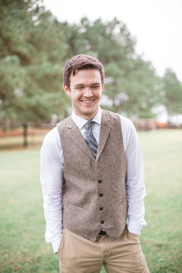 relaxed groom attire with woven vest #groom #vest #weddingchicks http://www.weddingchicks.com/2014/01/20/boho-garden-wedding/