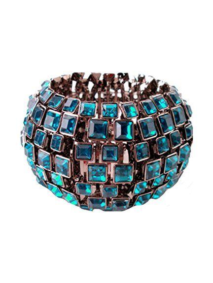 Schmuckanthony Designer Luxus Ball Festlich Armband Bracelet Elastik Stretch Petrol Blau 5cm breit