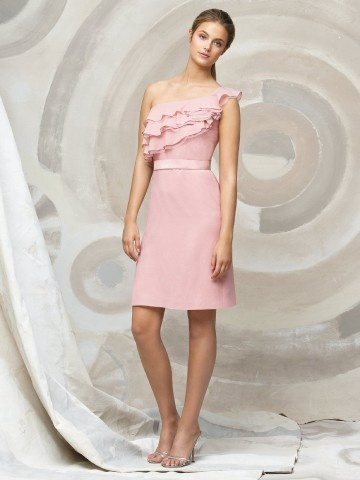 (NO.018697 )Sheath / Column One Shoulder Belt Sleeveless Knee-length  Chiffon Pink Bridesmaid Dress / Cocktail Dress / Homecoming Dress