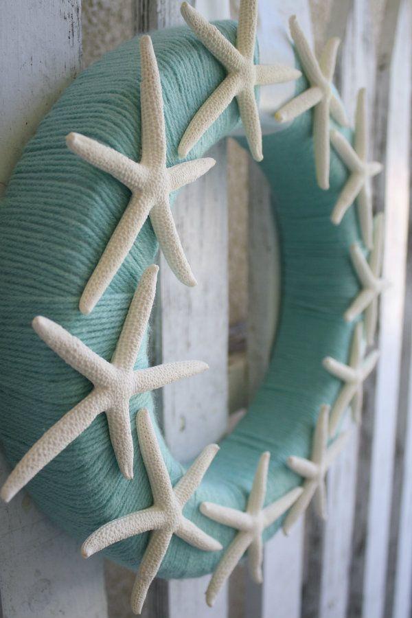Yarn Starfish Wreath for Fall Coastal Decor
