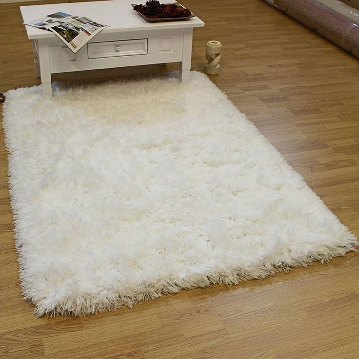 Large White Fluffy Rug