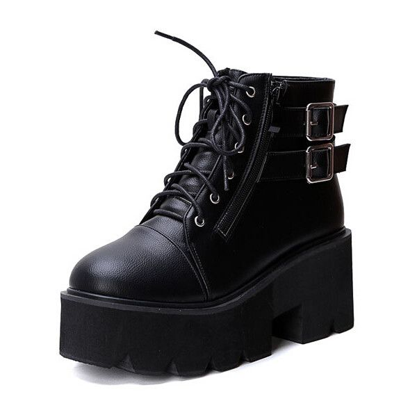 Black Lace Up Buckle Strap Zipper Wedges Boots ($37) ❤ liked on Polyvore featuring shoes, boots, black, lace-up platform boots, black boots, black platform boots, chunky boots and short boots