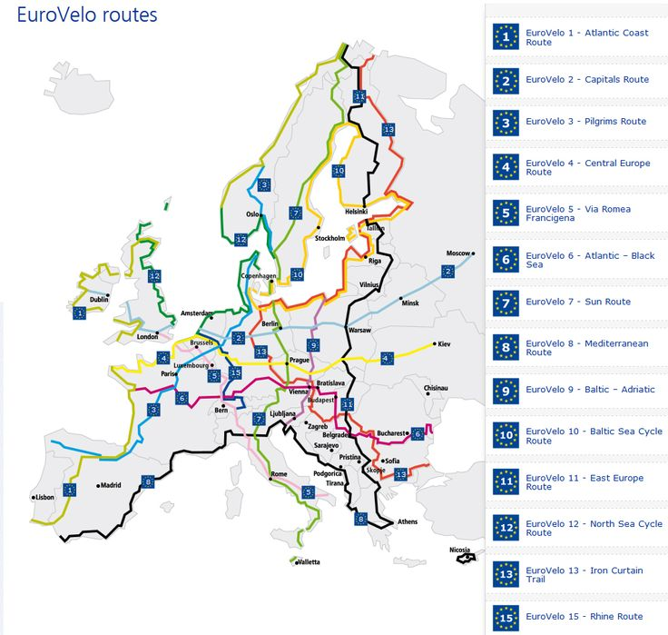 EuroVelo is a network of 14 long distance cycle routes connecting and uniting the whole European continent. A little inspiration for perhaps some bike travel / touring some day?