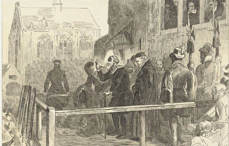 Johan van Oldenbarneveld on the scaffold before his execution, in 1619, Jan van der Veen (printmaker) Charles Binger, 1853-1861.