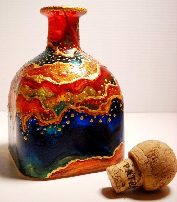 Hand Painted Glass Decanter Painted Bottle by skyspirit8studios, $245.00