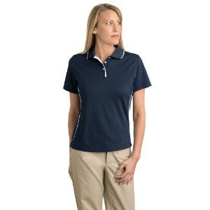 Sport Tek Ladies Dri-Mesh; Sport Shirt with Tipped Collar and Piping by Sport-Tek. $23.98. Double-needle shoulders and hem. Taped neck. 3-button placket with pearlized buttons. Striped placket and collar. Gently contoured silhouette. A stylishly tipped collar and piping combine with moisture-wicking Dri-Mesh technology for exceptional performance all day long. | 3.5-ounce, 100% polyester double mesh Gently contoured silhouette Double-needle shoulders and hem Tap...