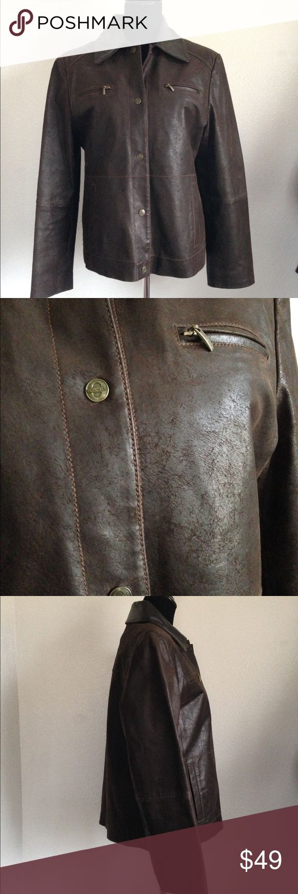 Ladies Pacific Trail Leather Jacket Ladies brown button down leather jacket. 2 side pockets and 2 front zip pockets. Buttoned on liner. Good used condition. No noticeable stains etc. Pacific Trail Jackets & Coats