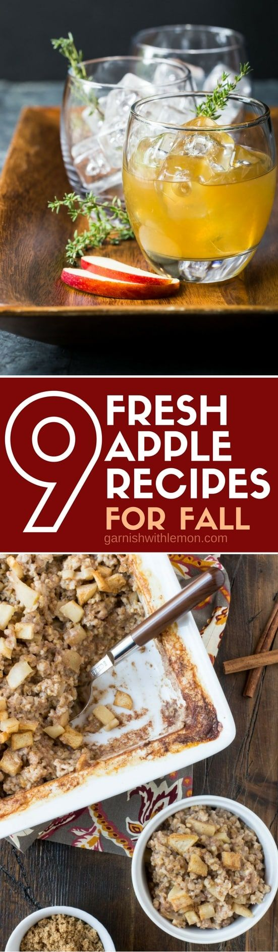 Picture of apple cider cocktail and baked apple oatmeal in collection of 9 Fresh Apple Recipes for Fall
