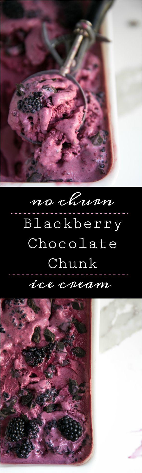 No Churn Blackberry Chocolate Chunk Ice Cream #icecream #homemade #easy #dessert #sweets #chocolte #blackberries #summer