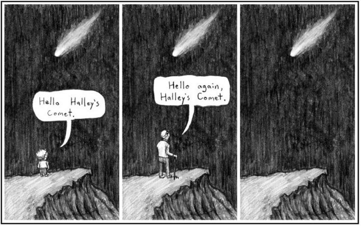 Beautiful comic by an unknown author (tips welcome). Halley's Comet is a so-called short-period comet which is visible every 76 years with the naked eye. If you were young when the comet came by in 1986, you *might* be able to see it again when you're old in 2061. It's the only comet with short enough rotation that any human might hope to see it twice.