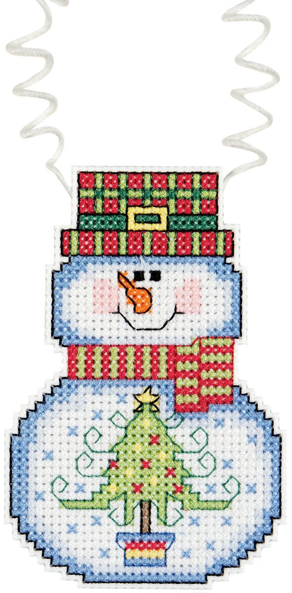 """Holiday Wizzers Snowman With Tree Counted Cross Stitch Kit-3""""""""X2.25"""""""" 14 Count"""