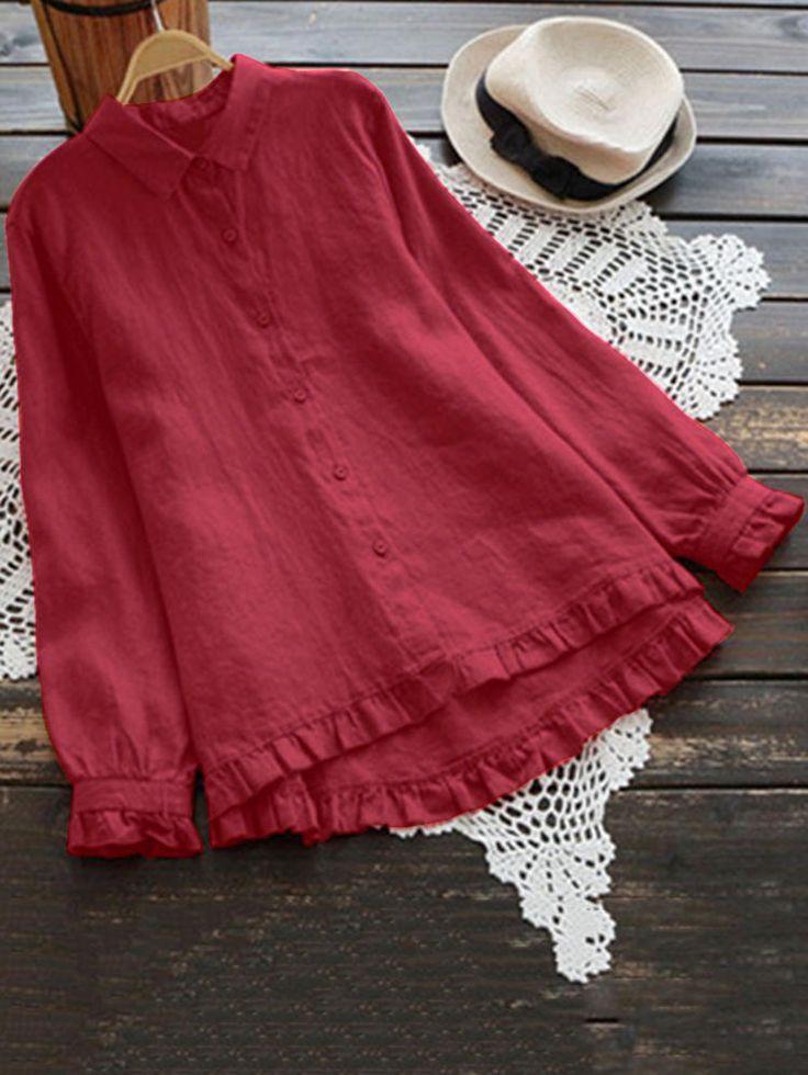 Plus Size Elegant Long Sleeve Ruffles Hem Cotton Blouse for Women 17