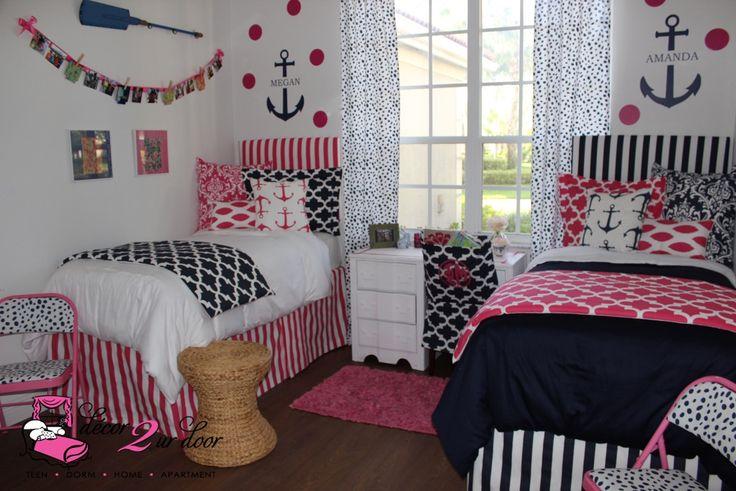 Preppy Pink & Nautical Navy Designer Dorm Bedding Set  ~ 053605_Nautical Dorm Room Ideas