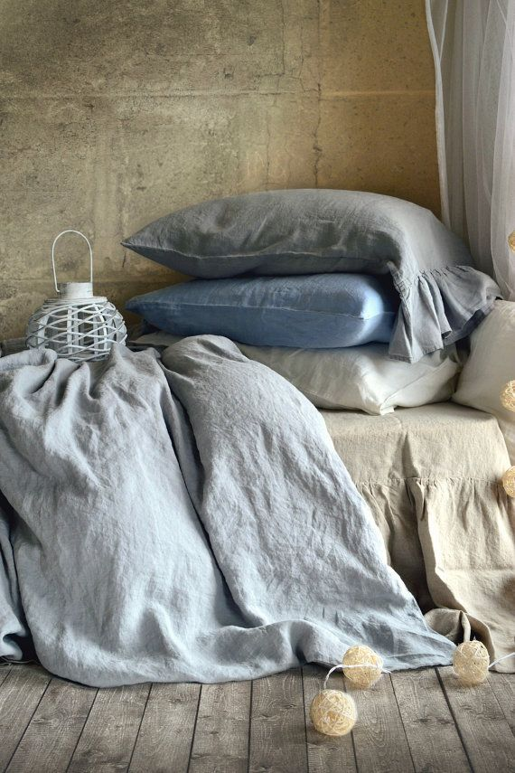 New House of Baltic Linen bedding: Light grey pure linen duvet/quilt cover. Medium weight linen. All-year-round bedding.  In character, in