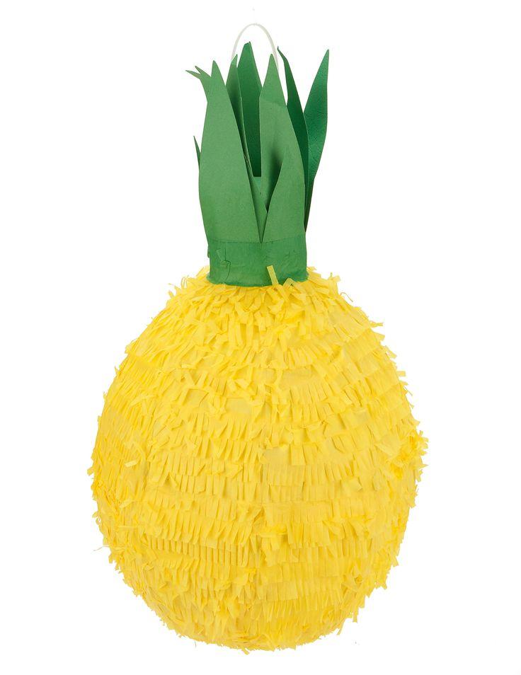Ananas-Piñata: DiesePiñata stellt eine grün-gelbe Ananas dar und besteht aus Pappkarton. Sie ist etwa 45 cm hoch und 25 cm im Durchmesser groß.Eine kleine Öffnung auf der Seite...