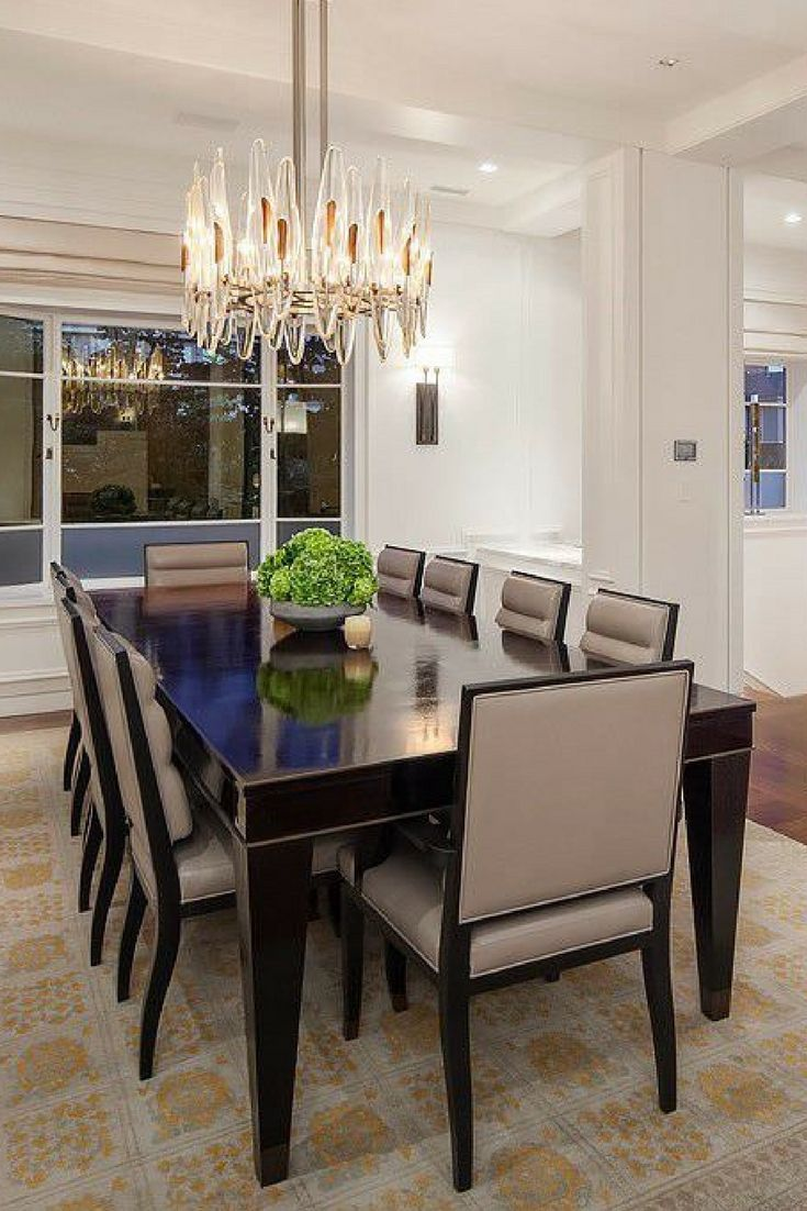 Large Urban Mansion With Incredible View Wood Rectangle Dining Table Rectangle Dining Table Beautiful Dining Rooms