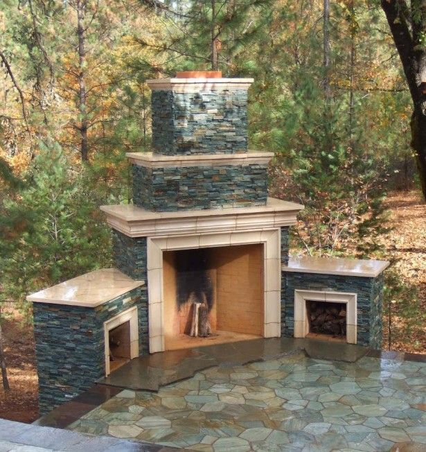 Outdoor Fireplace Design which Look Perfect with Your Garden: Fantastic Outdoor Fireplace Designs Ideas Stone Pathway Pinery ~ hivenn.com Decorating Inspiration