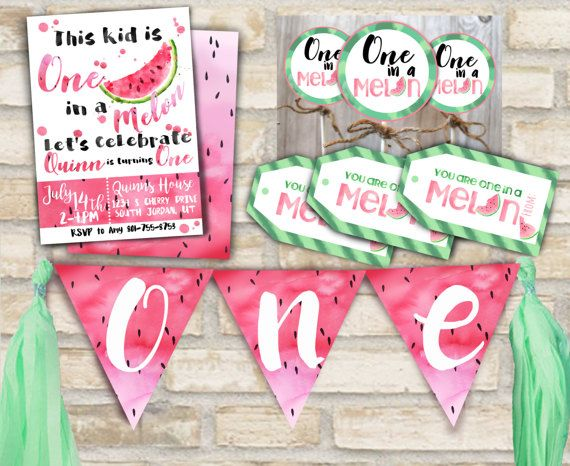 One in a melon party invitation suite for first birthday party decor with cupcake toppers, banner, and party favor tags watermelon theme  -This listing is for a printable watermelon birthday party suit design custom made with the information you provide with your order.