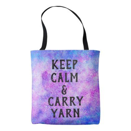 Keep Calm and Carry Yarn Purple Tote Bag - watercolor gifts style unique ideas diy