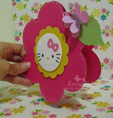Karina Nebot: Invitacion de Hello Kitty en forma de flor.
