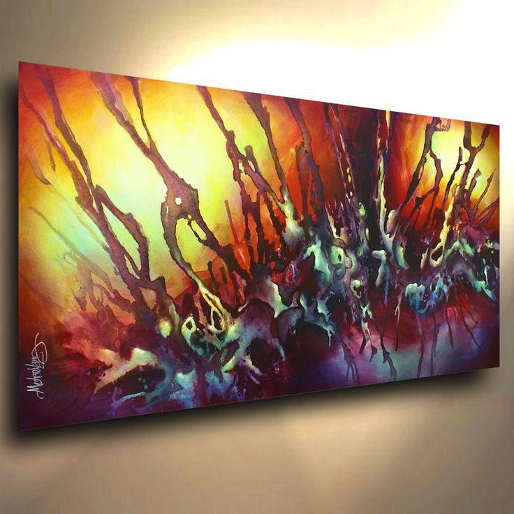 Original Painting Modern Abstract Contemporary ART DECOR Mix Lang cert. unique #ArtDeco