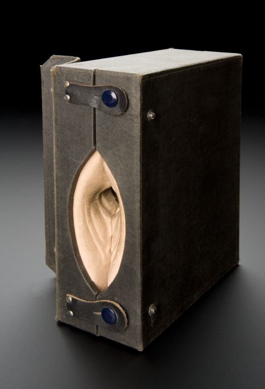 1930s ca.  Gynaeplaque Model. Black leather carry case with sponge model that opens to show a section through the vagina of female internal organs, used to help teach medical professionals how to insert a cervical cap, U.S., c.1930s.  Full view, case closed, graduated matt  black perspex background.                      suzilove.com