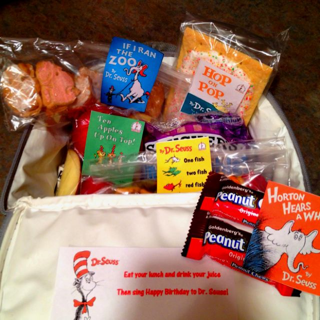 Dr. Seuss book snacks-animal crackers (If I Ran the Zoo), goldfish, pop tarts (Hop on Pop), peanuts, apples (10 Apples up on Top)
