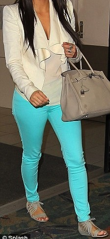 neon blue jeans and birkin