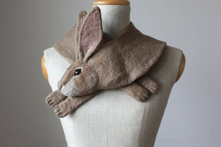 Rabbit - felted wool animal scarf by celapiu on Etsy https://www.etsy.com/listing/244522928/rabbit-felted-wool-animal-scarf