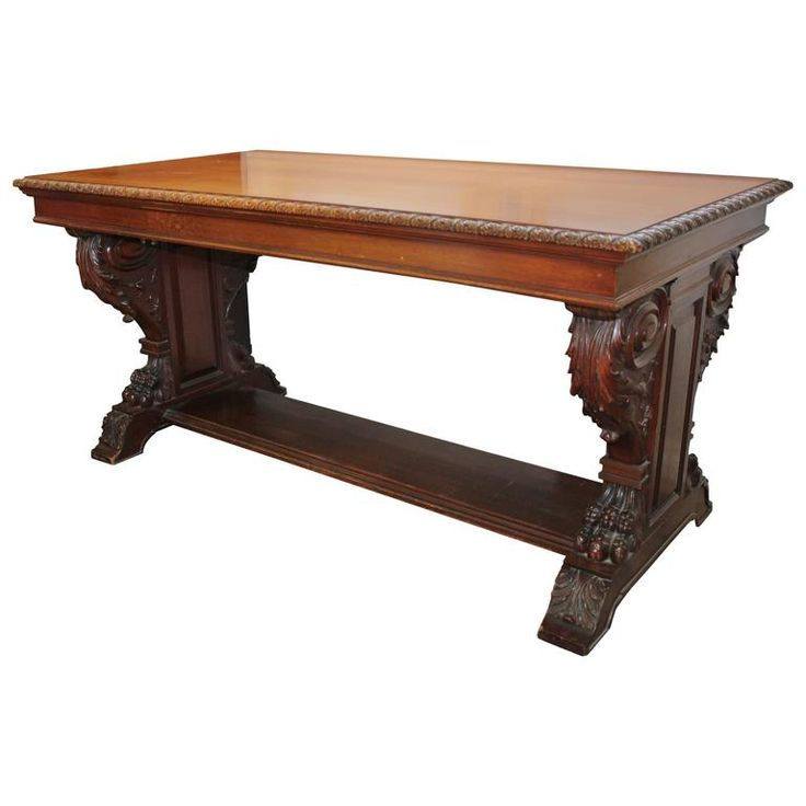 19th Century Gothic Revival Scottish Library Table or Desk | From a unique collection of antique and modern desks and writing tables at https://www.1stdibs.com/furniture/tables/desks-writing-tables/