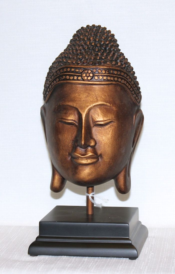 Buddha mask mounted on a wooden base  -   # 3456-053