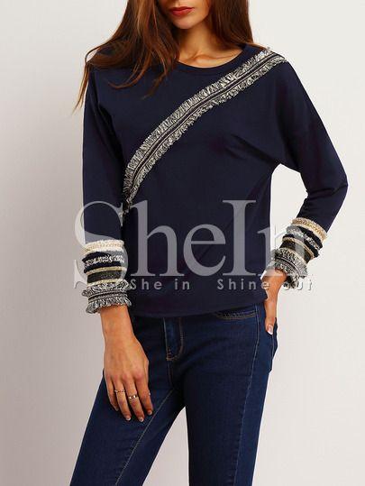 Shop Navy Crew Neck Fringe T-Shirt online. SheIn offers Navy Crew Neck Fringe T-Shirt & more to fit your fashionable needs.