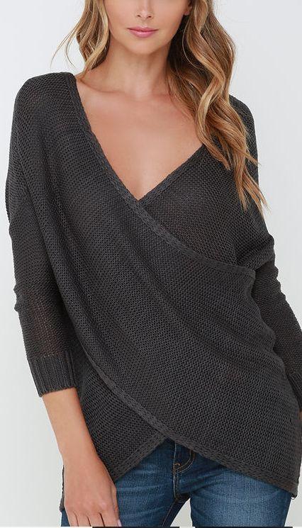 Dark Grey Wrap Sweater
