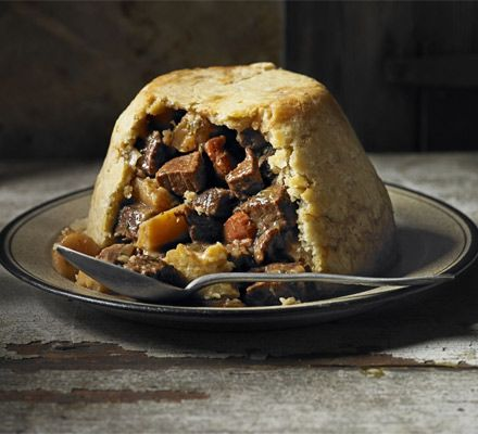 Beef, ale & parsnip pudding: A traditional steak and ale pie with suet pastry. Make the filling the night before then steam the pudding the following morning for a delicious Sunday lunch