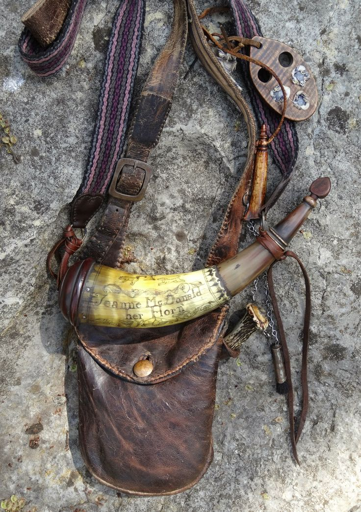 Contemporary Makers: Jeanne McDonald, Her Hunting Pouch with Rich McDonald Powder Horn, Knife and Accouterments