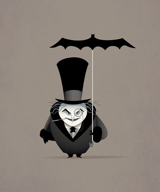 """""""The Penguin"""" by Jerrod Maruyama, via Flickr~ the Batman shaped umbrella is a cool touch."""