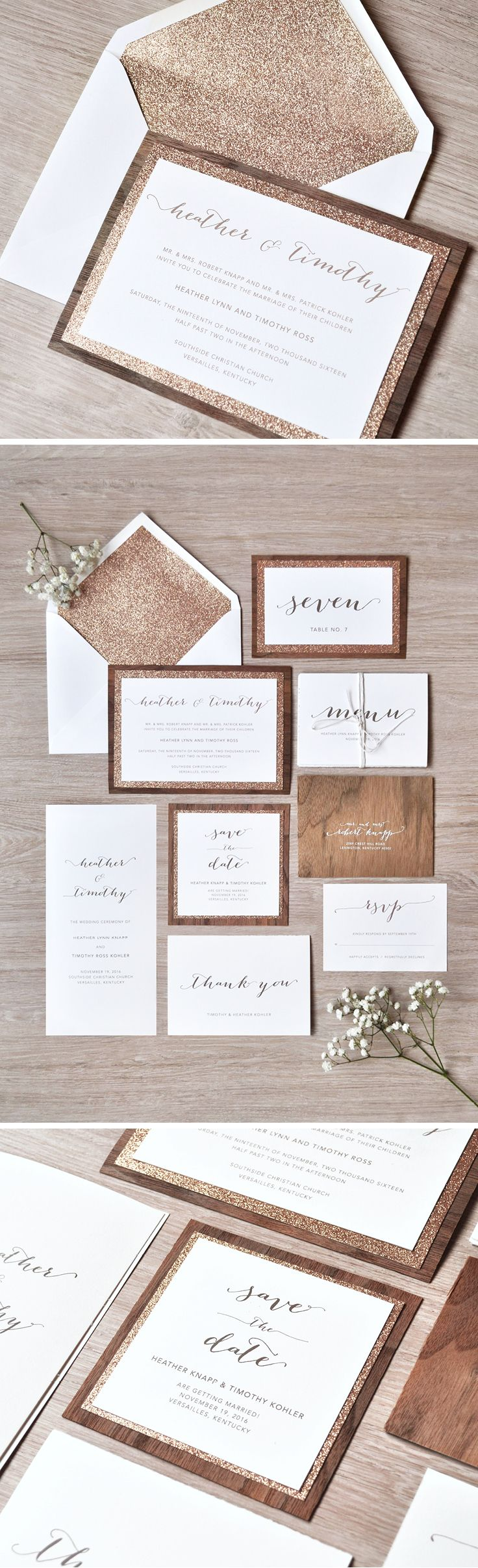 What happens when you combine wood and rose gold glitter? Why rustic glam wedding invitations of course! The Heather Suite from @engagingpapers is packed full of all the essentials including the save the dates, programs, menu and table numbers.