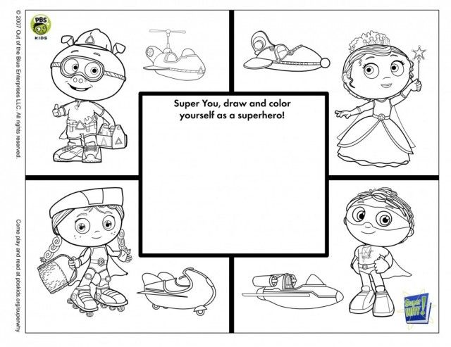 super whsuper why colouring pages