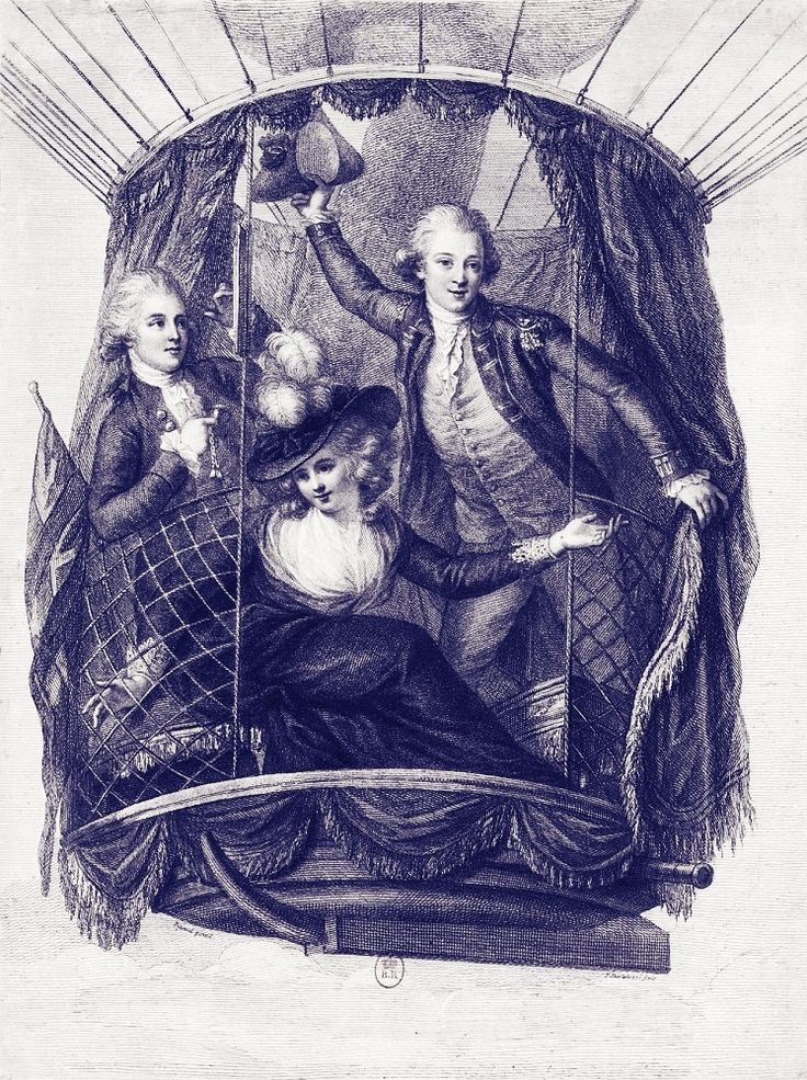 Hot-air balloon ascent with Captain Vincenzo Lunardi, his assistant George Biggin and Mrs Letitia Anne Sage. Engraving by Francesco Bartolozzi, 1785, Bibliothèque nationale de France