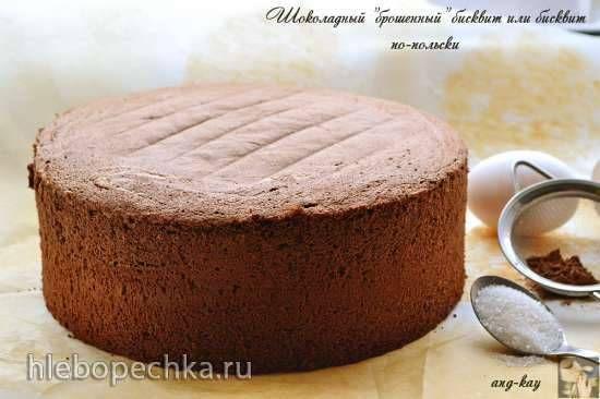 """Шоколадный """"брошенный"""" бисквит или бисквит по-польски Шоколадный """"брошенный"""" бисквит или бисквит по-польски"""