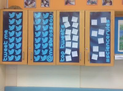 Mrs. Brosseau's Binder: Twitter Board In Action.  This Twitter Board is great for posting exit cards.  I made sticky notes through Vistaprint so the students can stick their exit card on the board on their way out of class.